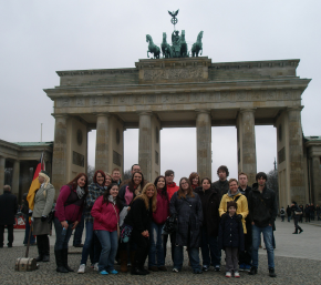 "Figure 1. OSU Newark students in Berlin got many opportunities to practice ""cosmopolitan courtesy,"" a key concept in an OSU Newark study abroad course."