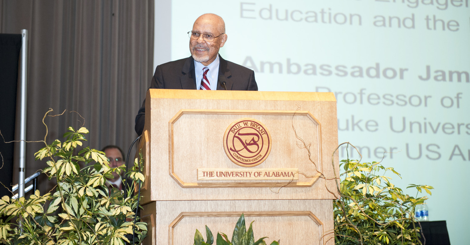 Ambassador James A. Joseph presenting the Keynote Address at NOSC 2012 at The University of Alabama.